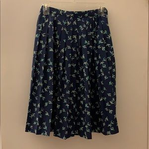 Pleated Midi-Skirt with Bird Print